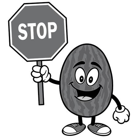 Watermelon with Stop Sign Illustration Ilustração