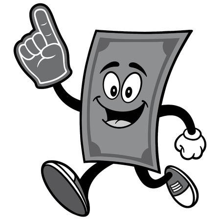 Dollar Running with Foam Finger Illustration