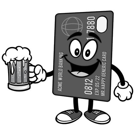 Credit Card with Beer Illustration