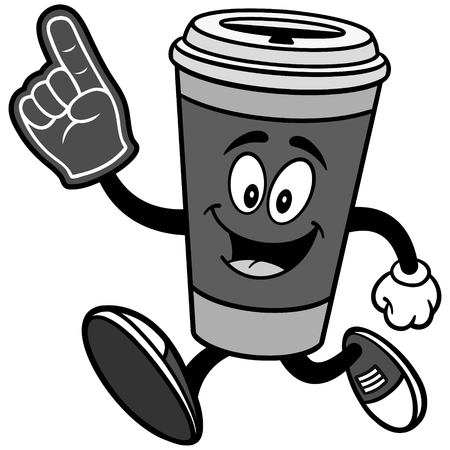 Coffee running with foam finger illustration.