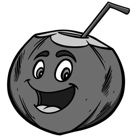 Coconut water cartoon on white background, vector illustration