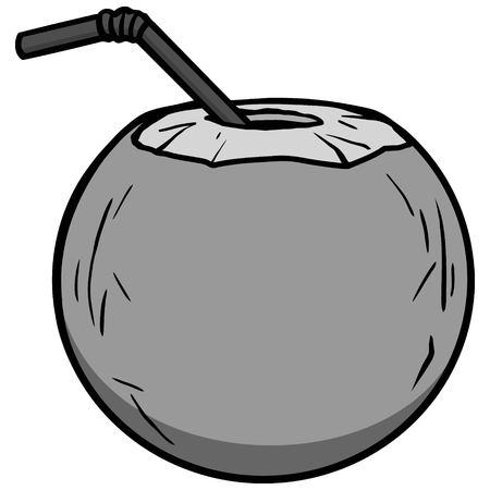벡터 일러스트 레이 션 흰색 배경에 코코넛 물 아이콘