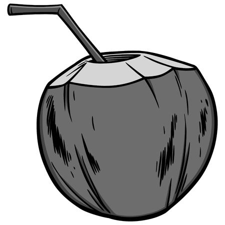 Coconut water on white background, vector illustration 版權商用圖片 - 89102061