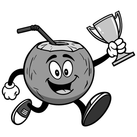 Coconut water running with trophy on white background, vector illustration 向量圖像