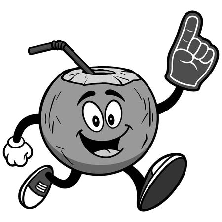 Coconut water running with foam finger on white background, vector illustration