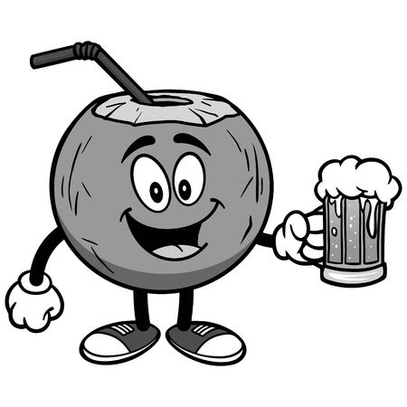 Coconut water with beer on white background, vector illustration