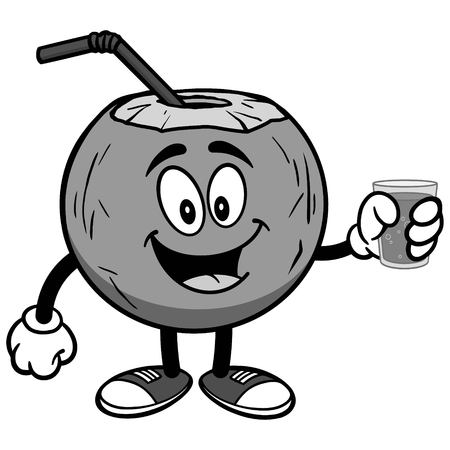 Coconut water with cup of water on white background, vector illustration Illusztráció
