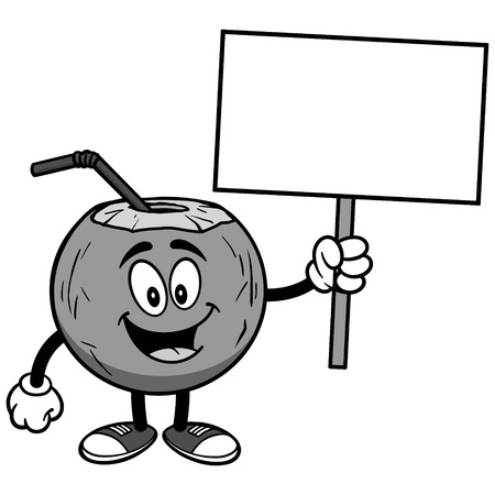 Coconut water with sign on white background, vector illustration Illusztráció