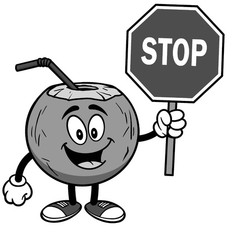Coconut water with stop sign on white background, vector illustration