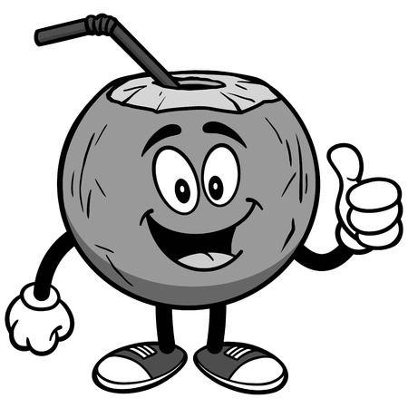 Coconut water with thumbs up on white background, vector illustration