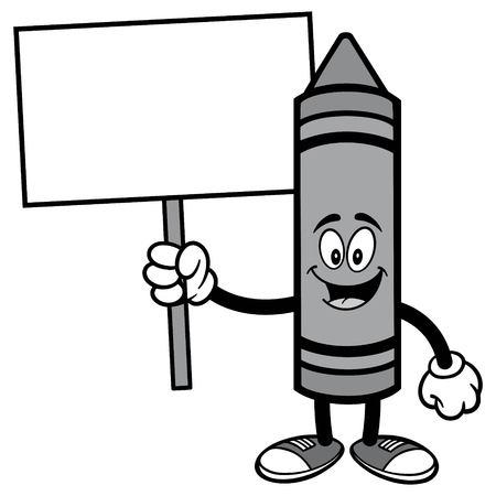 Crayon holding a sign icon. Иллюстрация