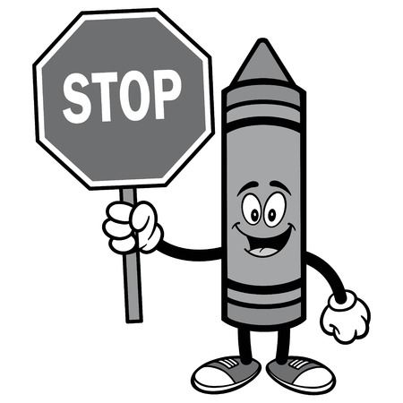 Crayon holding a stop sign icon.