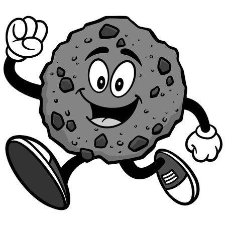 Chocolate Chip Cookie Running Illustration