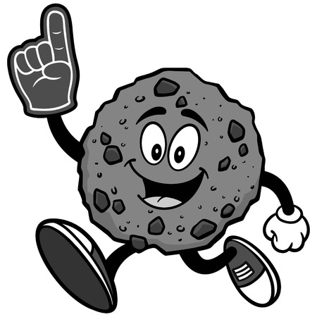 Chocolate Chip Cookie Running with Foam Finger Illustration