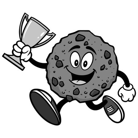 Chocolate Chip Cookie Running with Trophy Illustration