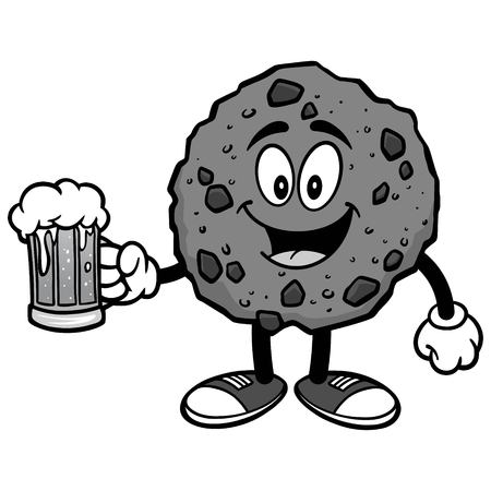 Chocolate Chip Cookie with Beer Illustration