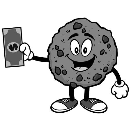 Chocolate Chip Cookie with Dollar Illustration