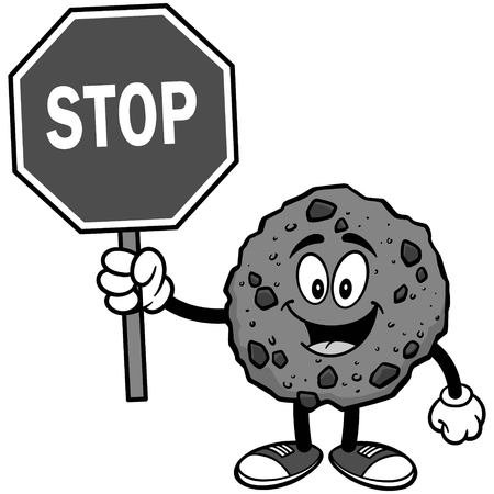 Chocolate Chip Cookie with Stop Sign Illustration Illustration