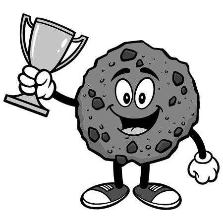 Chocolate Chip Cookie with Trophy Illustration Illustration