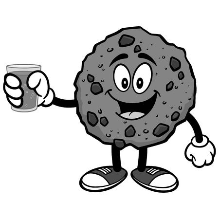 Chocolate Chip Cookie with Water Illustration Illustration