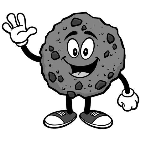 Chocolate Chip Cookie Waving Illustration