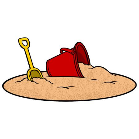 Sand Bucket and Shovel - A vector illustration of a Sand Bucket and Shovel. Illustration