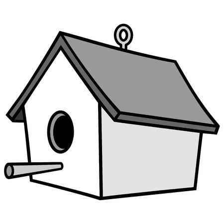 Birdhouse with Hanger Illustration.