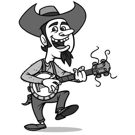Man with guitar illustration.