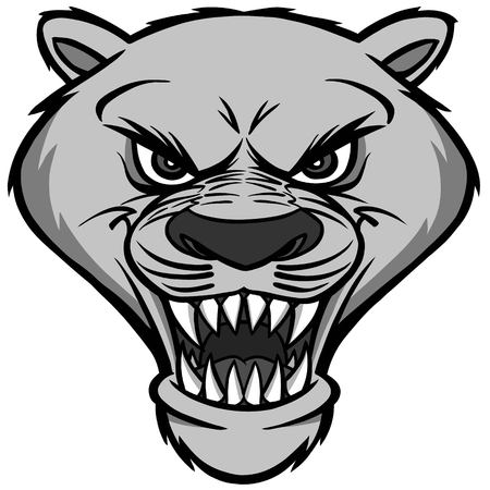 Cougar mascot head illustration on white background.