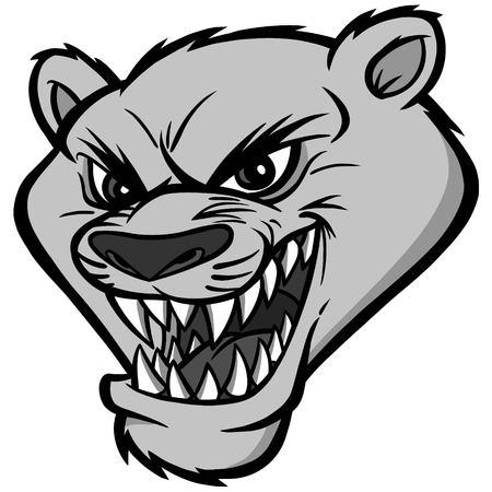 A vector illustration of a cartoon cougar mascot head.