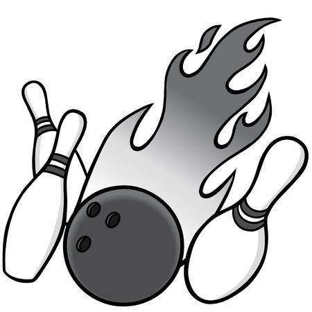 Bowling Illustratie - Een vector illustratie van een bowlingbal en pinnen.