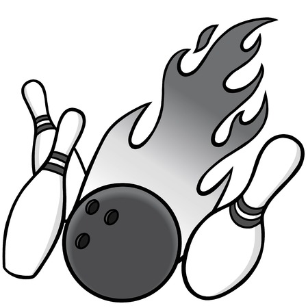 Bowling Illustration - A vector illustration of a bowling ball and pins.