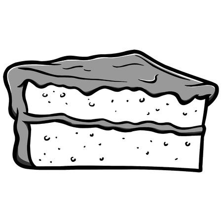 ケーキスライスイラスト - ケーキスライスのベクトル漫画のイラスト。