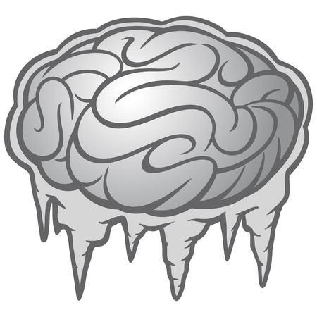 Hersenen bevriezen illustratie - een vector cartoon illustratie van een hersenen bevriezen concept.