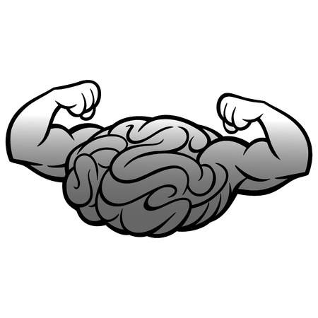 Brain Power Icon Illustration - A vector cartoon illustration of a Brain Power Icon.