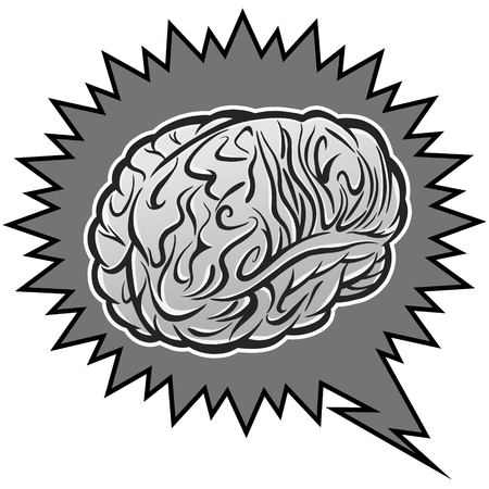 Brain power illustration - A vector cartoon illustration of a brain power concept. Иллюстрация