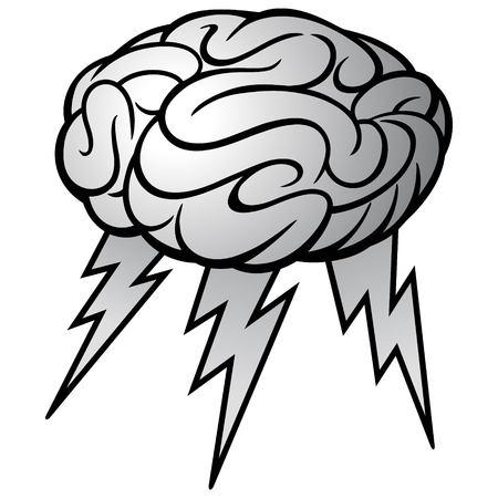 Hersenen storm illustratie - een vector cartoon illustratie van een brein storm concept.
