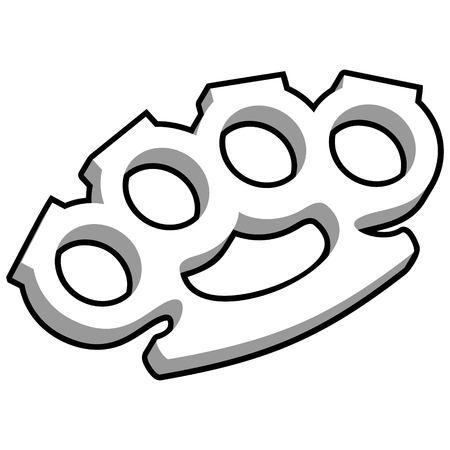 Brass Knuckles Illustration - A vector cartoon illustration of a pair of Brass Knuckles.