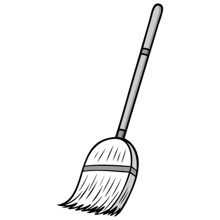 Broom Illustration - A vector cartoon illustration of a cleaning broom. Ilustração