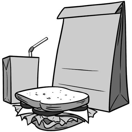 Brown Bag Lunch Illustration - A vector cartoon illustration of a Brown Bag Lunch.