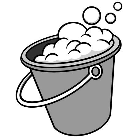 石鹸イラスト付きバケツ - 石鹸水のバケツのベクトル漫画のイラスト。  イラスト・ベクター素材
