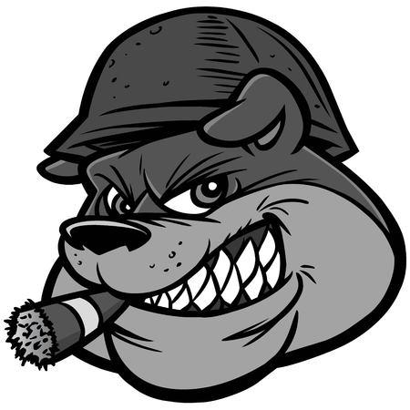 Bulldog Army Mascot Illustration - A vector cartoon illustration of a Bulldog Army Mascot.