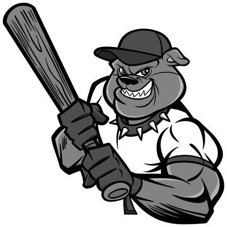 Bulldog Baseball Player Illustration - A vector cartoon illustration of a Bulldog Baseball Player. Illustration