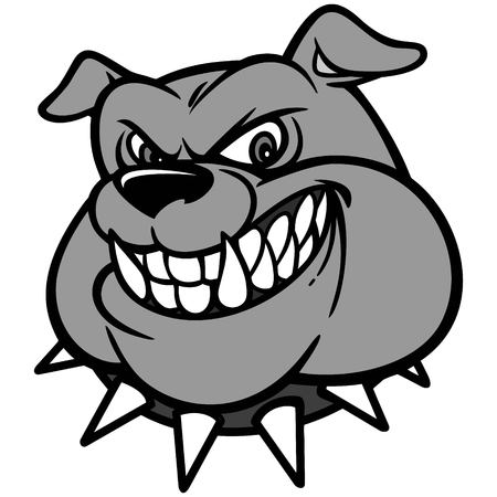 Bulldog Head Illustration - A vector cartoon illustration of a Classic Bulldog Head.