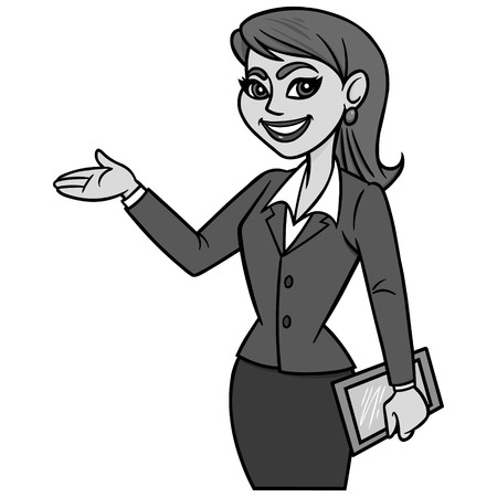 Business Lady with Tablet Illustration - A vector cartoon illustration of a Business Lady with a Tablet.