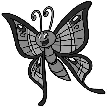 Butterfly Cartoon Illustration - A vector cartoon illustratie van een vlinder. Stock Illustratie