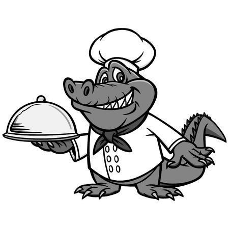 Cajun Chef Illustration - A vector cartoon illustration of a Cajun Alligator Chef mascot. Vettoriali