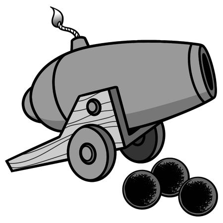 Cannon Illustration - A vector cartoon illustration of a cannon with some cannon balls. Ilustração