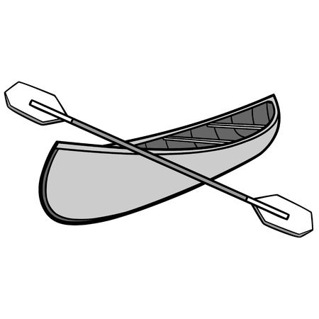 Canoe and Paddles Illustration - A vector cartoon illustration of a campground Canoe and Paddles. Stock Vector - 93648675