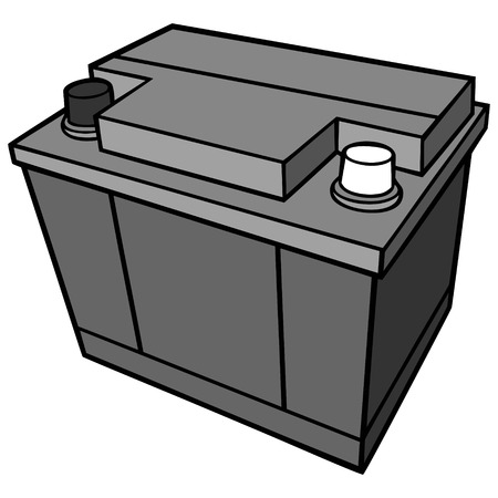 Car battery illustration, a vector cartoon illustration of a car battery.